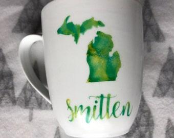 Smitten with the Mitten mug // white // green // watercolor // michigan