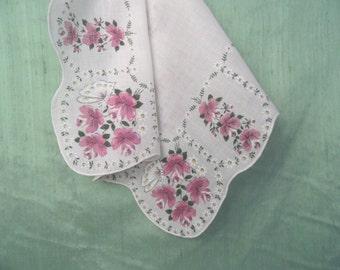 Purple floral handkerchief /  vintage lavender hankie