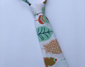 Boys Neck Tie, Infant Neck Tie, Feather Neck Tie, Toddler Neck Tie