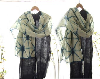 Linen stole, natural indigo wrap, shibori shawl, graphic geometrical pattern, hand dyed and hand made, linen from France, wearable fiber art