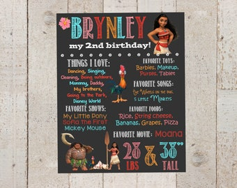 Moana Birthday Chalkboard-- Custom First Birthday Sign--Moana-- Chalkboard Stats-- Custom Digital File--Moana Birthday- First Birthday
