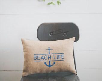 Beach Life Decorative Pillow Decor Pillow Simple Pillow Beach Pillow Summer Pillow Anchor 14x9 accent pillow