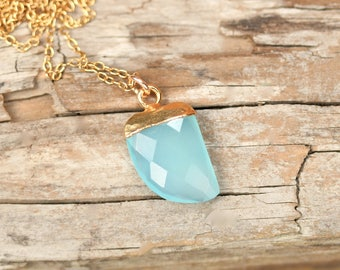 Blue gem necklace - chalcedony necklace - crystal necklace - gemstone necklace - boho necklace - tusk necklace - gift for her