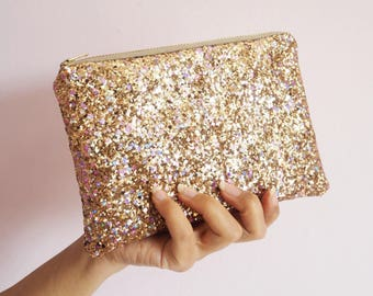 Pale Gold Rainbow Glitter Makeup Bag, Sparkly Gold Rainbow Glitter Cosmetic Bag, Gold Wedding Bag, Gold Rainbow Clutch Bag, Rainbow Glitter,