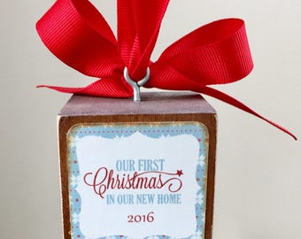 Our First Home Photo Block Ornament