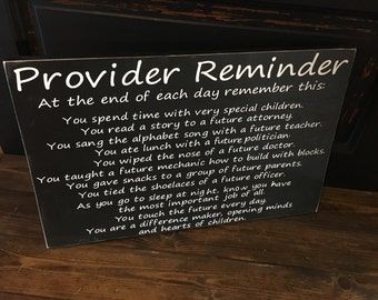 Provider Reminder, daycare sign