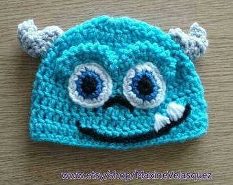 Monsters Inc Sulley Inspired hatCrochet Baby Toddler Teen Adult turquoise  beanie Halloween costume accessory photo prop