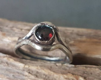 Red Garnet Ring/7mm/Sterling Silver and Fine Silver/Natural Red Garnet/Handmade/Metal Smith/Organic/Primitive/Garnet Ring