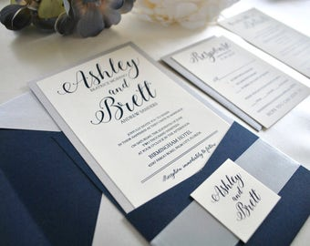 Navy, Silver Pocket Wedding Invitation-Romance, Sapphire, Midnight Blue, Gold (NOT A SAMPLE LISTING) - Colors/wording/materials Customizable
