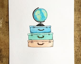Vintage Suitcases Watercolor Painting; travel, travel painting, vintage, luggage, suitcases, globe, adventure art