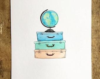 Vintage Luggage Watercolor Painting, Travel Art, Adventure Art, suitcases
