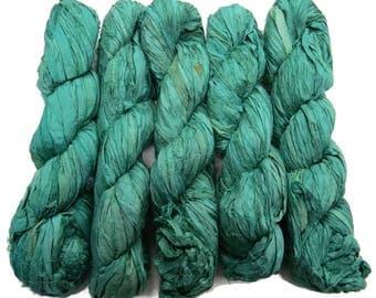 New! Sari Silk Ribbon, 100g , Seagreen