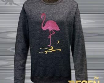 FLAMINGOS pink glitter  jumper Women's sweatshirt heather sweatshirt