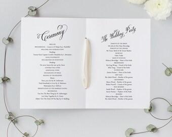PRINTED Monogram Order of Service - Wedding Program Booklet - size A5