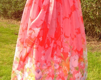 Vintage 70's chiffon floaty skirt with full lining maxi style size 10