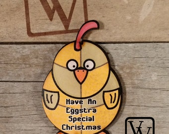 Chicken Patchwork Christmas Ornament