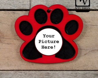 Red Paw Picture Christmas Ornament