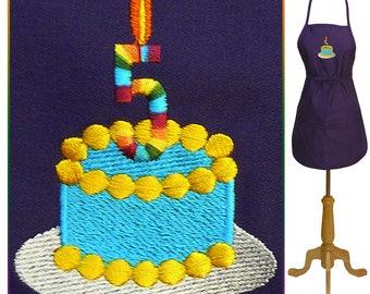 5th Birthday Cake or Anniversary Apron + Free Name Monogram Custom Embroidered