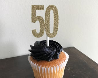 50 Cupcake Toppers, 50th Anniversary Cupcake Toppers, 50th Birthday Cupcake Toppers, 50th Decorations, 50th Cupcake Toppers, Gold Glitter 50