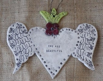 Winged Heart - Heart with Wings - Sacred Heart - Heart - Ceramic - pottery - Stamped - You Are Beautiful - Beautiful - Wall Hanging