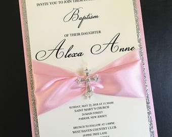 Cream Pink Silver Glitter Embellished Luxury First Communion Invitation Baptism Invitation Christening Birthday Confirmation Invitation