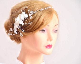 Bridal hair jewlery Bridal headband Wedding headband Jewlery Pearl headpiece Wedding hair accessory