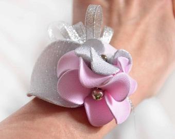 Bridesmaids bracelet, Pale pink and silver corsage, Prom corsage,  Wrist corsage, Bridesmaids wrist, Flower wrist,  Prom wrist,