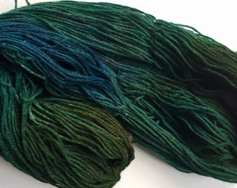 Hand dyed wool yarn, handpainted worsted weight, handed medium weight wool yarn,  310+ yds. 7 ounces
