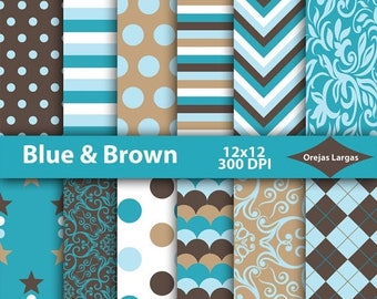 50% SALE Blue & brown digital paper, brown background, brown scrapbook paper, blue digital paper pack, digital download, printable paper
