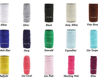 "Skinny Elastic, 1/8"" Thin Elastic, Narrow DIY Headband Elastic  - 5 Yards, 15 Colors, Craft Supplies"
