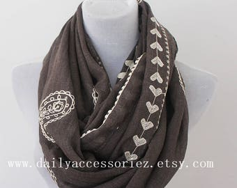 Heart Scarf, Embroidered Paisley Gray Infinity Scarf, Spring Summer scarf, Womens Scarves, Gifts For Her, Handmade, Gifts For Mother