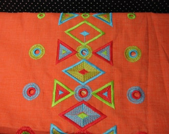 "Fabric, Medium Weight, Machine Embrodiered, Bright Orange Background, Vintage, sewing suppies  42"" x 2 yards (Orange Emb.)"