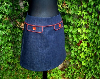 Retro skirt jeans skirt of Deep Blue Denim of skirt women ladies skirt
