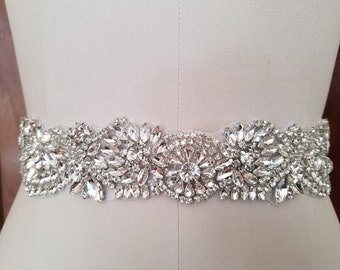 SALE - Wedding Belt, Bridal Belt, Sash Belt, Crystal Rhinestone Sash - Style B72217
