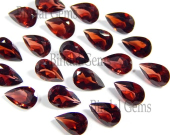 10 Pieces Finest Lot AAA Quality Natural Garnet Pear Shape Faceted Cut Loose Gemstone