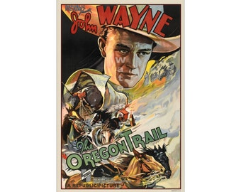 John Wayne - The Oregon Trail Digitally Restored & Retouched Poster from the Film/Movie (491968300)