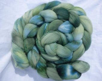 Hand Dyed Wool Roving (Top) - Blue Green Merino and Mulberry Silk Blend - 100g