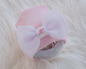 Baby Girl Hospital Hat. Newborn Hospital Beanie. Newborn Girl Hat with Bow and Initial. Baby's Initial Embroidered