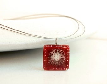 Red pendant, Square pendant, Dandelion necklace, Art jewelry, Hand painted pendant, Fused glass pendant, Eco friendly jewelry, Art glass