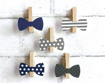 Don't Say Baby Clothespins Baby Shower Decoration Gray Navy Bow Tie Clips Pins Birthday Baby Shower Games Wedding Decoration Dont Say Baby