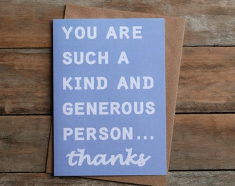 thank you card, designed and printed in the west of Ireland, thanks, kindness card, B22