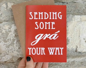 Grá card in dearg/red, Irish language love card - Irish for love, mindful productivity cards