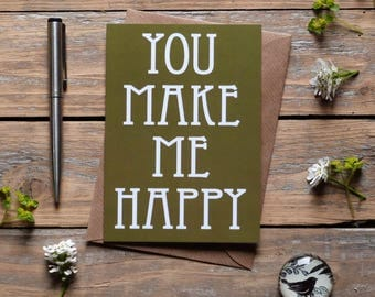 Unisex Greeting card - birthday cards for him and her, anniversary card, green - everyday cards, you make me happy, gift card