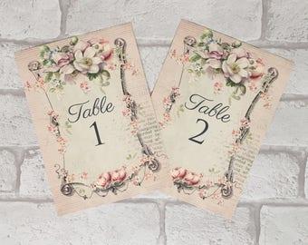Vintage Style Wedding ~ Table Number Cards ~ pink flower frame design centrepiece