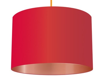 Red Linen Fabric Drum Lampshade With Metallic Copper Effect Lining, Small Lampshade 20cm - Large Lampshade 40cm or Custom Order