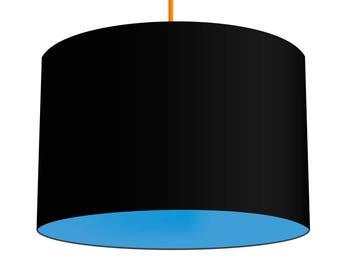 Black Linen Fabric Drum Lampshade With Contrasting Alegria Blue Cotton Lining, Small Lampshade 20cm - Large Lampshade 40cm or Custom Size