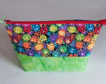 Ladybug Zippered Pouch, Make Up Bag, Gift for Friend, Open-Wide Pouch, Sewing supply bag