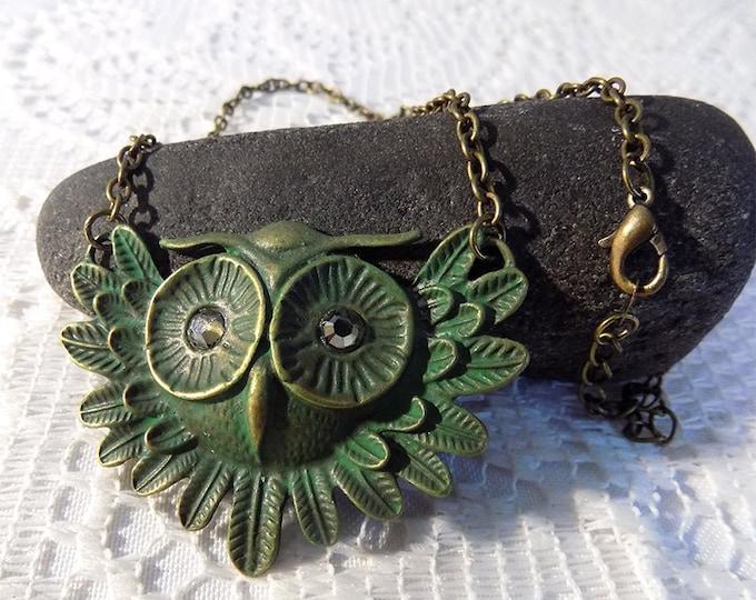 green patina owl face handmade necklace