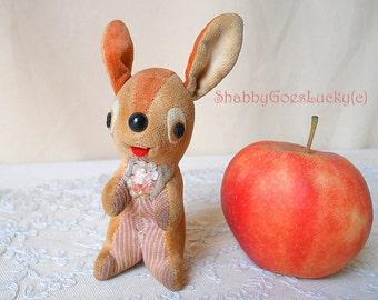 Funny vintage velvet Easter bunny, velveteen rabbit, old smiling begging small 4 inch bunny rabbit from the 1970s