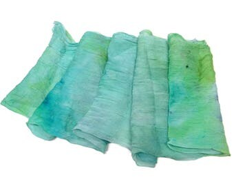 Hand dyed Silk crinkle chiffon fabric scarf for nuno felting color: Paradise/Lime/Turqouise